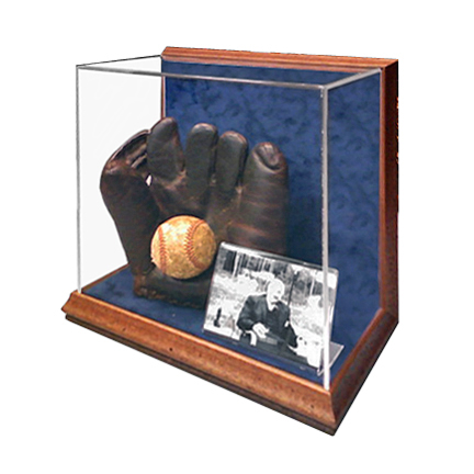 Old catchers glove and ball shadowbox